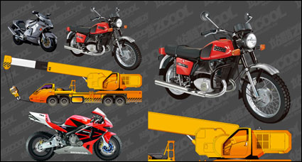 Link toMotorcycle and crane vector