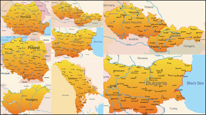 Link toEastern europe geographic map - vector
