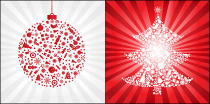 Link toRed christmas ball with christmas tree - vector material