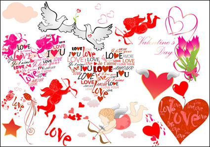 Link toRomantic valentine's day love cards vector material