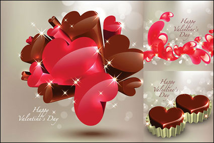 Link toStereoscopic heart-shaped chocolate vector