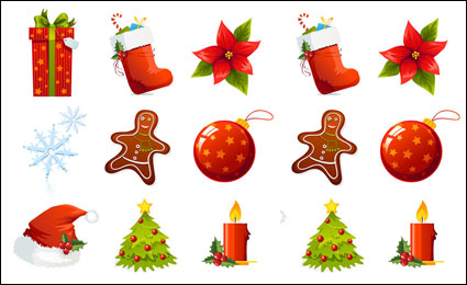 Link toA set of beautiful christmas icon vector