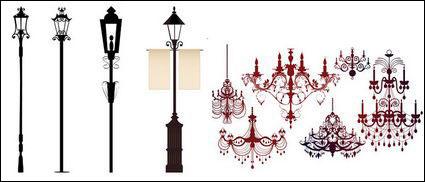 Link toOrnate chandelier lights silhouette vector