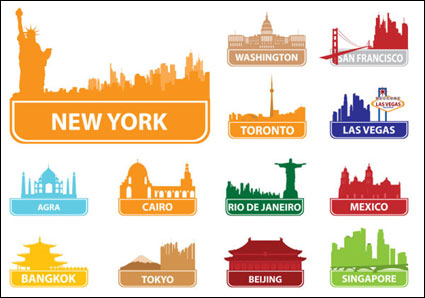 Link toWorld famous silhouette of city building 02 - vector