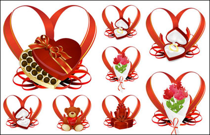 Link toHeart-shaped ribbon and gift - vector
