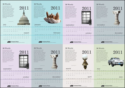 Link to6 exquisite 2011 calendar template - vector