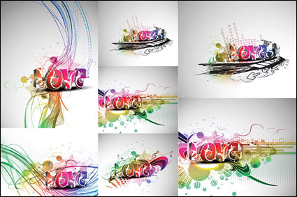 Link toCool three-dimensional art of the word love vector material