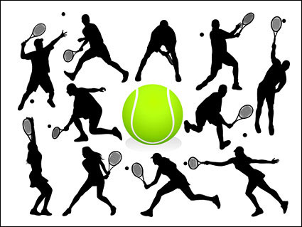 Tennis action figures silhouette Vector