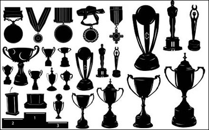 Link toMedals and trophies silhouette vector