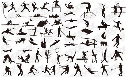 Variety of sports actions silhouette Vector