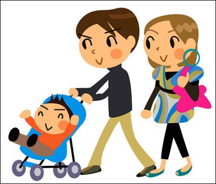 Link toCartoon family of three - vector