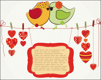 Link toHand-drawn illustrations love birds 04-- vector material
