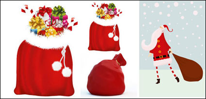 Link toSanta claus and gift bags - vector