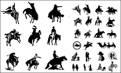 Link toBlack and white picture cowboy series 2 vector material