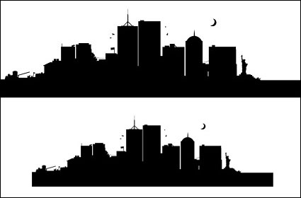 Link toU.s. city, new york silhouette vector