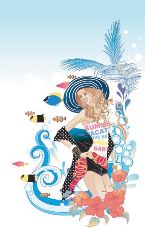 Link toExquisite cartoon fashion crush 05-- vector material