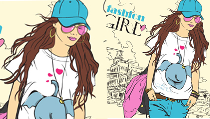 Cartoon fashion beauty 02– vector material