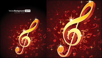 Music notes theme vector material -5