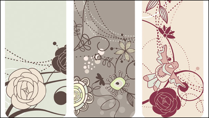 Link toFashion lovely bird flowers vector material -1