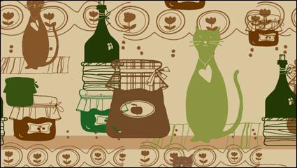 Link toCat cartoon background 05-- vector material