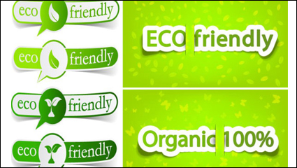 Link toLow-carbon green theme label banner design vector material -2