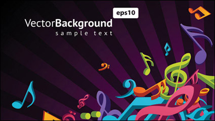 Link toNote musical theme vector material -3