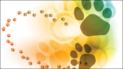 Link toColorful bubble footprints background - vector