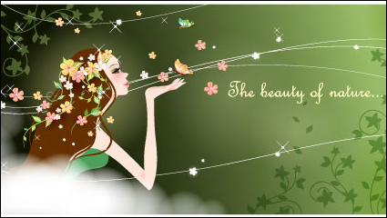 Link toCartoon beauty background 04 - vector