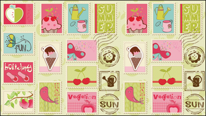 Link toCartoon illustrations of stamps 02 - vector