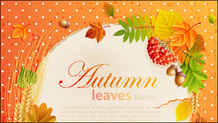 Link toBeautiful autumn leaves frame background 05-- vector material