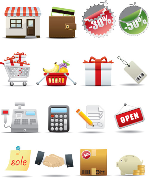 Link toSupermarket shopping icons - vector