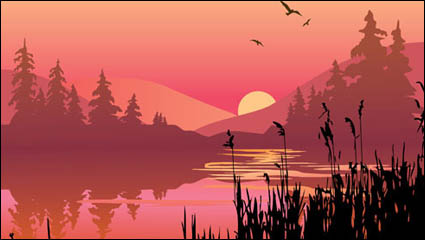 Lakes and mountains at dusk vector material