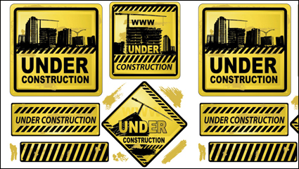 Yellow warning signs 01 - vector