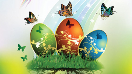 Link toEaster card butterflies and decorated eggs 01 - vector