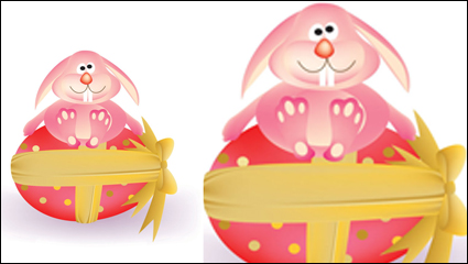 Link toCartoon bunny and egg 05-- vector material