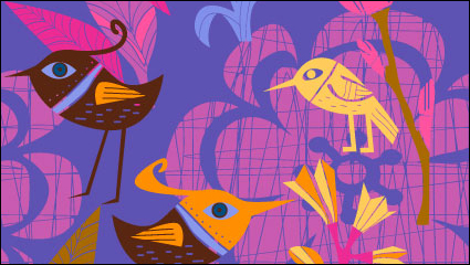Link toLovely hand-painted flowers and birds vector -1