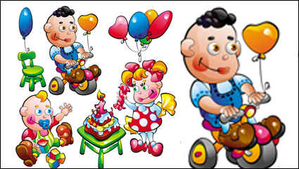 Link toCartoon baby food toys 01 - vector