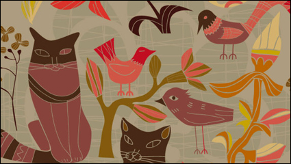 Link toThe cartoon decorative style birds and cats 01 - vector