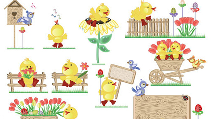 Link toCute easter egg chicks vector material