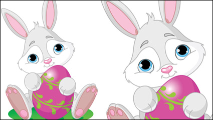 Link toCartoon rabbit with egg 04 - vector
