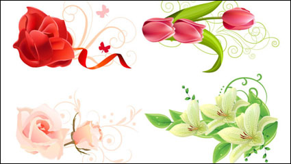 Beautiful flowers – vector material