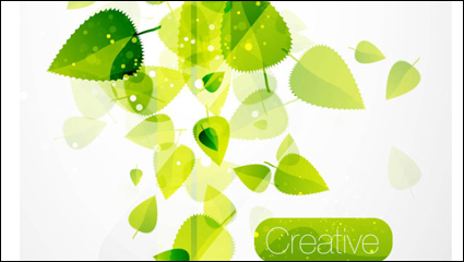 Spring green leaves 02– vector material