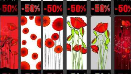 Flowers topic discount tag vector material