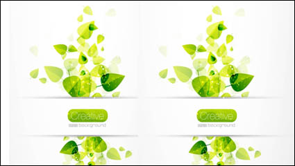 Spring green leaves 04– vector material