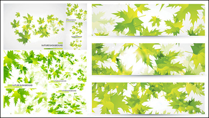 Link toGreen leaves background vector material