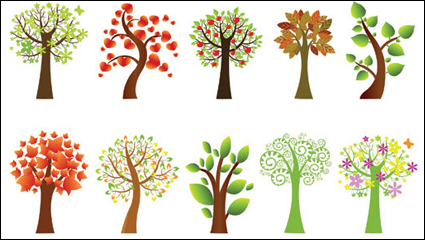 Link toA variety of lovely trees vector material