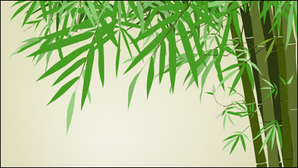 Link toGreen bamboo background text template vector material -2