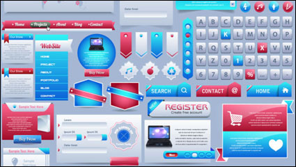 Link toSophisticated web page elements - vector