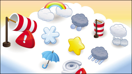 Cartoon weather icon 03 - vector material
