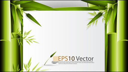 Link toGreen bamboo background text template vector material -1